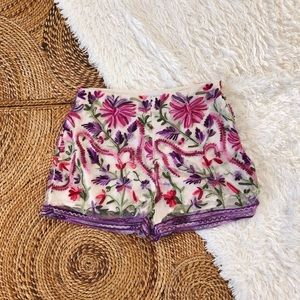 l'atiste embroidered high rise shorts